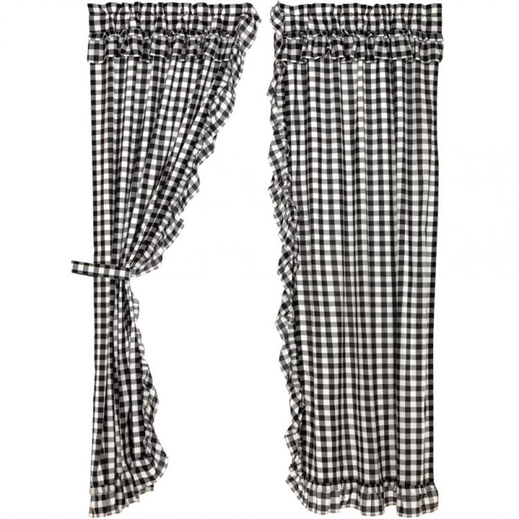 ANNIE BUFFALO BLACK CHECK Ruffled Farmhouse Shower Curtain VHC Brands