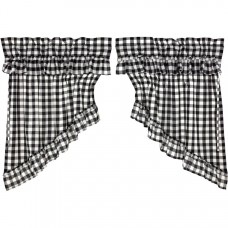 Annie Buffalo Black Check Ruffled Prairie Swag Set