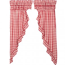 Annie Buffalo Red Check Ruffled Prairie Curtain Set