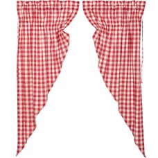 Annie Buffalo Red Check Short Prairie Curtain Set