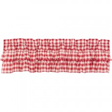 Annie Buffalo Red Check Ruffled Valance 72""