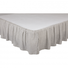 Dakota Star Farmhouse Blue Ticking Stripe Bed Skirt