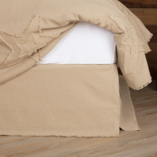 Burlap Vintage Fringed Bed Skirt