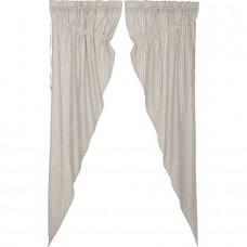 Hatteras Seersucker Blue Ticking Stripe Long Prairie Curtain Set
