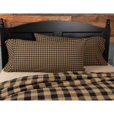 Black Check King Pillow Case Set