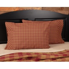 Burgundy Check Standard Pillow Case Set