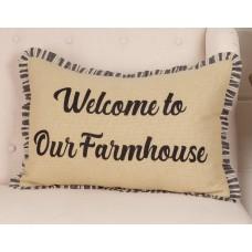 Ashmont Burlap Vintage Welcome To Our Farmhouse Pillow