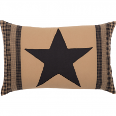 Black Check Star Patch Pillow