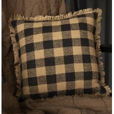 "Burlap Black Check Pillow 12"""