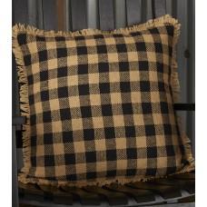 "Burlap Black Check Pillow 18"""