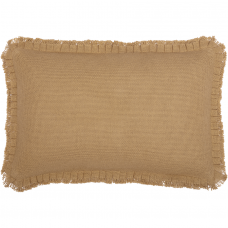 Burlap Natural Pillow with Fringed Ruffle 14x22