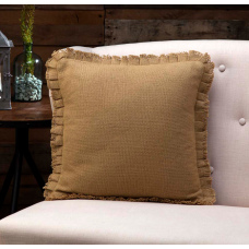 Burlap Natural Pillow with Fringed Ruffle 16x16
