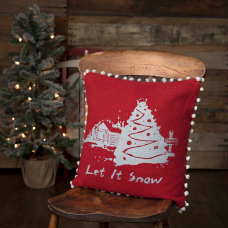 Let It Snow Red Burlap Pillow