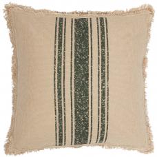 Vintage Burlap Green Stripe Pillow