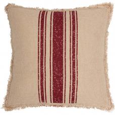 Vintage Burlap Red Stripe Pillow