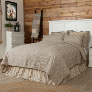 Sawyer Mill Charcoal Ticking Stripe Quilt