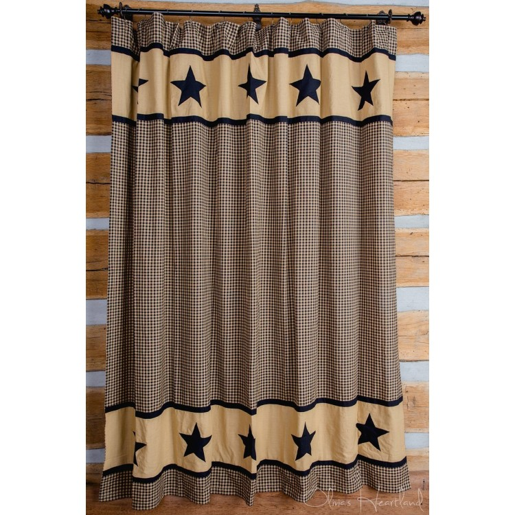 Black and Tan Star Shower Curtain by Olivia\'s Heartland