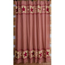Colonial Star Burgundy/Tan Shower Curtain