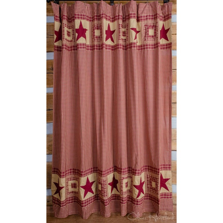 Colonial Star Burgundy Tan Shower Curtain