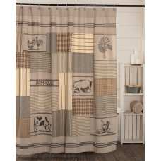 Sawyer Mill Charcoal Stenciled Patchwork Shower Curtain