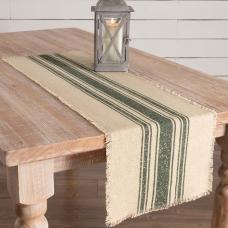 Vintage Burlap Green Stripe Table Runner