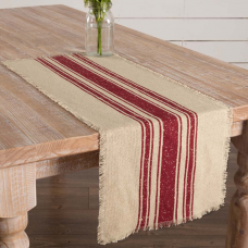 Vintage Burlap Red Stripe Table Runner