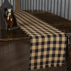 Burlap Black Check Table Runner