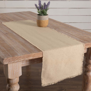 Burlap Vintage Fringed Table Runner