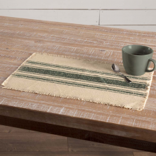 Vintage Burlap Green Stripe Placemat Set of 6