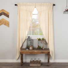 Annie Buffalo Tan Check Long Prairie Curtain Set