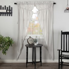 Annie Buffalo Grey Check Long Prairie Curtain Set
