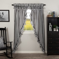 Annie Buffalo Black Check Ruffled Long Prairie Curtain Set
