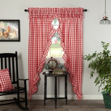 Annie Buffalo Red Check Ruffled Long Prairie Curtain Set
