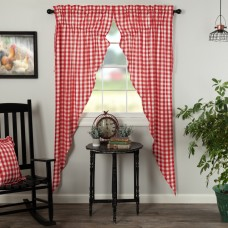 Annie Buffalo Red Check Long Prairie Curtain Set