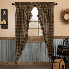 Black Star Scalloped Long Prairie Curtain Set
