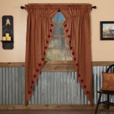 Burgundy Star Scalloped Long Prairie Curtain Set