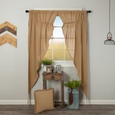 Burlap Natural Long Prairie Curtain Set