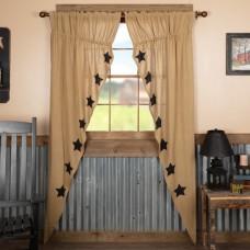 Burlap Natural Black Stencil Stars Long Prairie Curtain Set