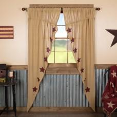 Burlap Burgundy Stencil Stars Long Prairie Curtain Set
