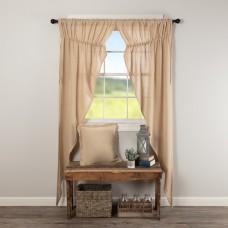 Burlap Vintage Long Prairie Curtain Set