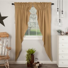 Simple Life Flax Khaki Long Prairie Curtain Set