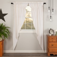 Simple Life Flax Antique White Long Prairie Curtain Set