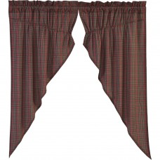 Tartan Red Plaid Prairie Curtain Set
