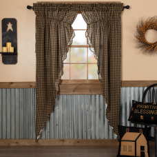 Black Check Scalloped Long Prairie Curtain Set