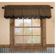 Black Check Scalloped Layered Valance 60""