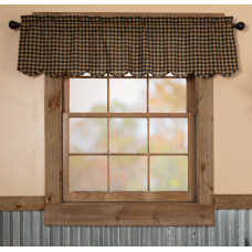 Black Check Scalloped Valance 60""