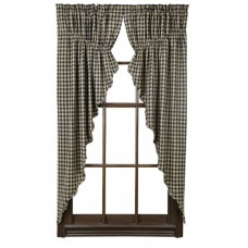 Black Check Prairie Curtain Set