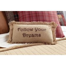 Burlap Natural Follow Your Dreams Pillow