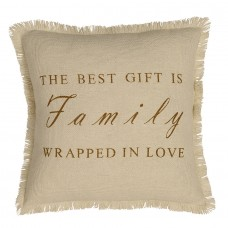 Creme Burlap Family Pillow