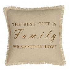 Creme Burlap Family Pillow